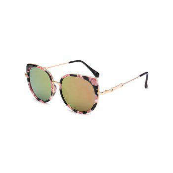Floral Metal Cat Eye Mirrored Sunglasses