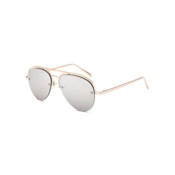 Metal Crossbar Semi Rimless Mirrored Aviator Sunglasses