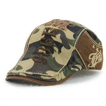 Applique Embellished 1985 Camouflage Newsboy Cap - COFFEE COFFEE