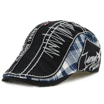 Sewing Thread Embroidered Tartan Newsboy Cap
