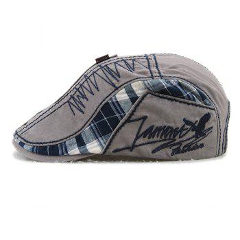 Sewing Thread Embroidered Tartan Newsboy Cap - GRAY