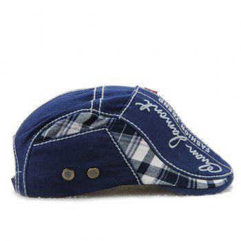 Sewing Thread Embroidered Tartan Newsboy Cap - BLUE