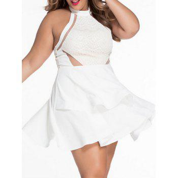 Plus Size Layered Flare Dress with Lace