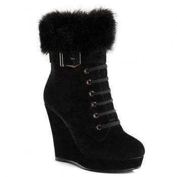 Belt Buckle Faux Fur Suede Short Boots - BLACK 39