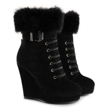 Belt Buckle Faux Fur Suede Short Boots - 39 39