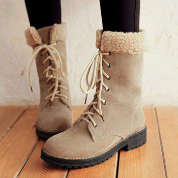 Suede Flat Heel Mid Calf Boots - LIGHT KHAKI LIGHT KHAKI