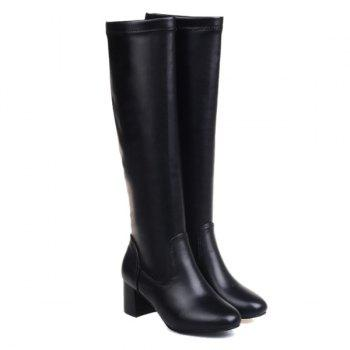 Round Toe PU Leather Knee High Boots - 39 39