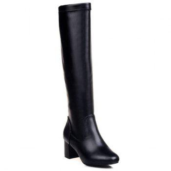 Round Toe PU Leather Knee High Boots - BLACK BLACK