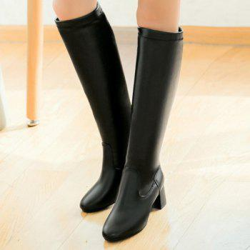 Round Toe PU Leather Knee High Boots - BLACK 39