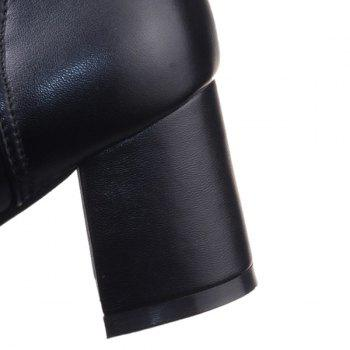 Round Toe PU Leather Knee High Boots - 38 38