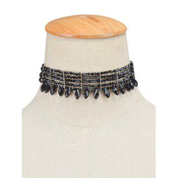 Fringe Layered Beaded Choker Necklace