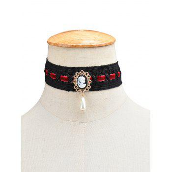 Fake Pearl Queenly Portrait Choker - WINE RED WINE RED