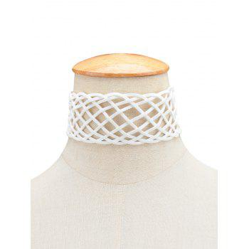 Braided Geometric Grid Choker Necklace - WHITE