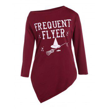 Plus Size Skew Neck Frequent Flyer Print T-Shirt