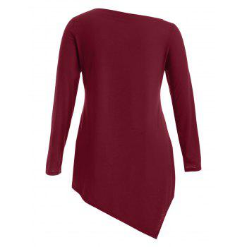 Plus Size Skew Neck Frequent Flyer Print T-Shirt - WINE RED L