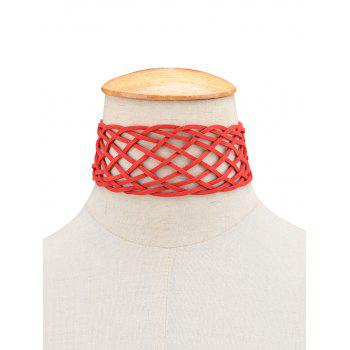 Braided Geometric Grid Choker Necklace -  RED