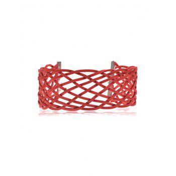 Braided Geometric Grid Choker Necklace - RED RED