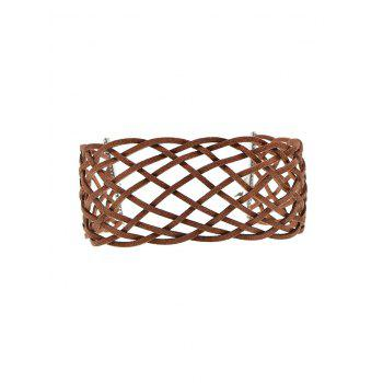Braided Geometric Grid Choker Necklace - BROWN BROWN