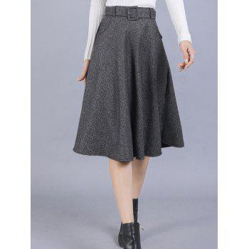 High Waisted Belted Midi Skirt