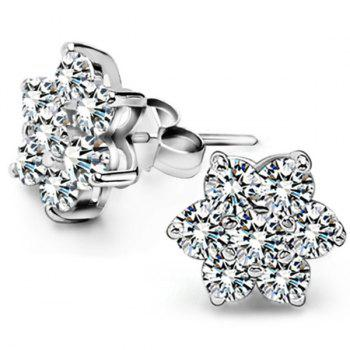 Pair Of Faux Zircon Flower Stud Earrings