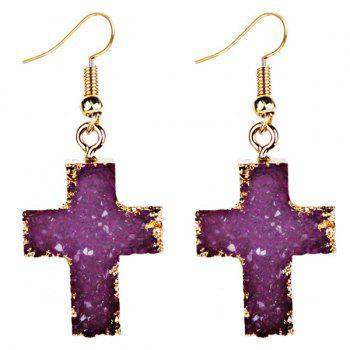 Pair of Faux Gemstone Cross Drop Earrings