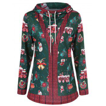 Pullover Hoodie With Christmas Patterned