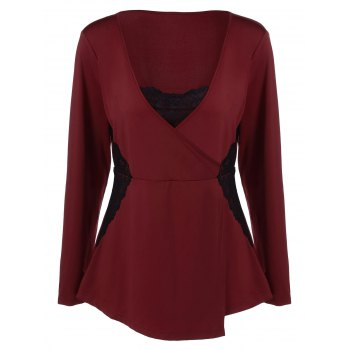 Buy V Neck Plus Size Tee Lace Insert WINE RED