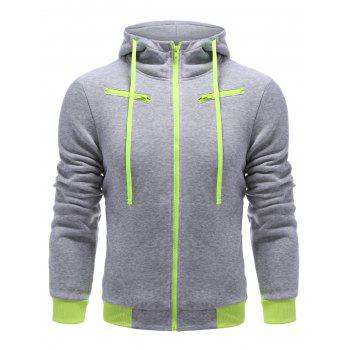 Buy Color Block Full Zipper Hoodie LIGHT GRAY