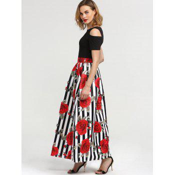 Cold Shoulder Tee and Floral Skirt - XL XL
