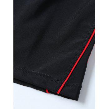 Graphic Contrast Boyshorts Swim Bottom - BLACK BLACK