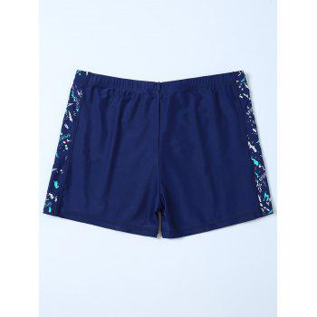 Sports Graphic Zip Printed Swim Bottom Boyshorts - DEEP BLUE DEEP BLUE
