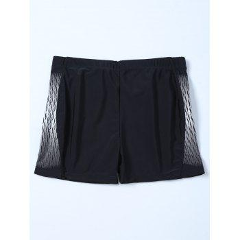 Elastic Waist Printed Swim Boyshorts - BLACK 2XL