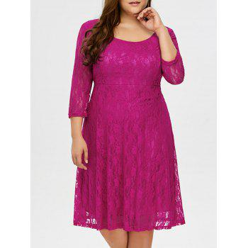 Plus Size High Waist Floral Lace Dress