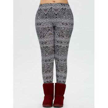 Plus Size Patterned Skinny Pants