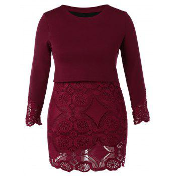Plus Size Lace Insert Long Sleeve Dress