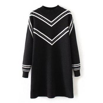 Plus Size Striped Crew Neck Longline Sweater