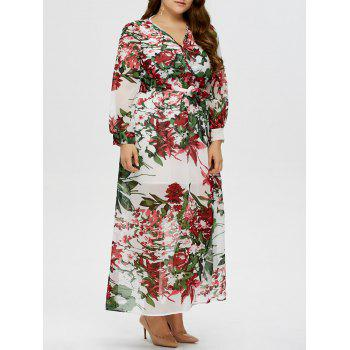 Floral Plus Size V Neck Maxi Dress With Sleeves Whitexl In Plus