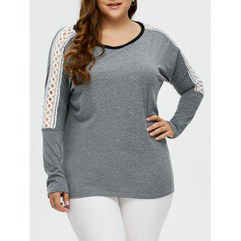 Plus Size Drop Shoulder Crochet Tee