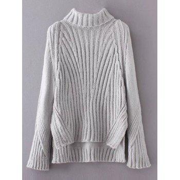 Ribbed Turtleneck High Low Hem Sweater
