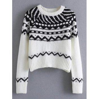 Pullover Crew Neck Tribal Cropped Sweater