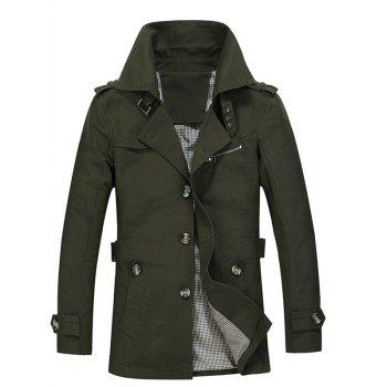 Buy Single Breasted Turndown Collar Epaulet Design Coat ARMY GREEN
