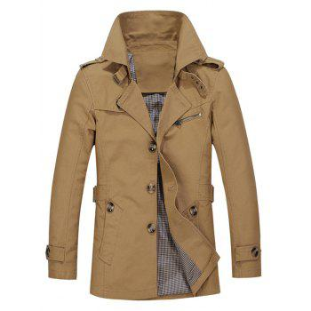 Single Breasted Turndown Collar Epaulet Design Coat - DARK KHAKI M