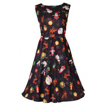 Christmas Print Sleeveless Skater Dress