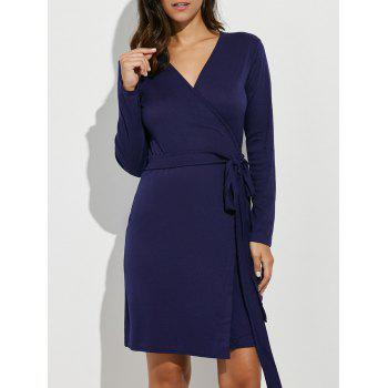 Long Sleeves Tied Belt Wrap Dress
