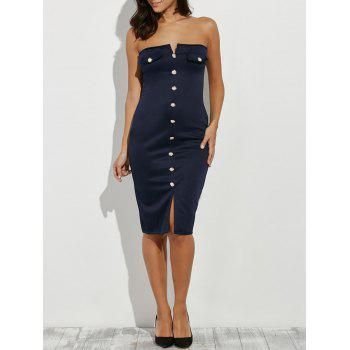 Buttoned Tube Bodycon Party Dress