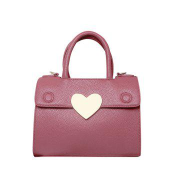 Textured PU Leather Metallic Heart Handbag