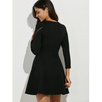 Crochet Openwork Swing Dress - BLACK L
