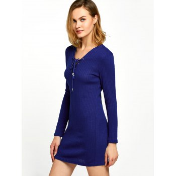 Long Sleeve Lace Up Ribbed Pencil Knit Mini Dress - BLUE XL