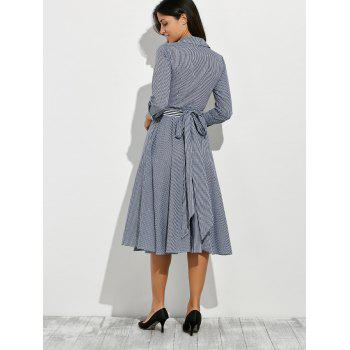Long Sleeve V Neck Checked Full Dress - GRAY M
