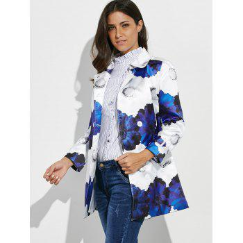 Belted Flower Print Trench Coat - FLORAL XL